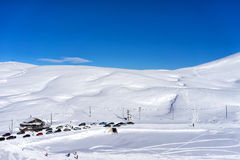 Aerial View of skiers at Ski Resort Falakro, in Greece. Stock Photos
