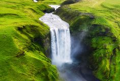 Aerial view on the Skogafoss waterfall in Iceland. Landscape from air. Famous place in Iceland.