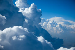 Aerial view of  Sky and close-up Clouds Stock Images
