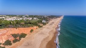 Aerial. View from the sky at the golf courses in the tourist town Vale de Lobo. Vilamoura. stock photography