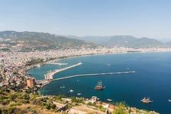 Aerial view of sky, hills, coastline Stock Photos