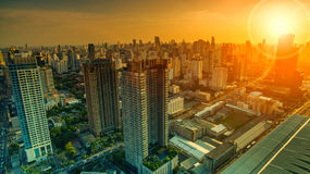 Aerial view of sky scraper in heart of bangkok thailand capital Royalty Free Stock Images