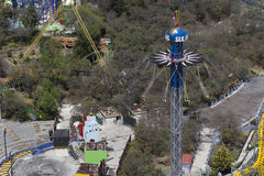 Aerial view of sky-screamer attraction in six flags Royalty Free Stock Photography