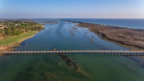 Aerial. View from the sky to the bay in Ria Formosa. Quinta de Lago. royalty free stock image
