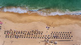 Aerial. View from the sky to the Portuguese beach in the Algarve, Vale de Lobo stock photo