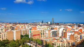 Aerial view on Skyline of Barcelona city center Royalty Free Stock Images