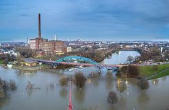Aerial view of the skyline of the city of Duisburg during the Flooding of January 2018. Aerial view of the skyline of the city of Duisburg in Germany during the Royalty Free Stock Photo