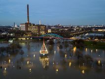 Aerial view of the skyline of the city of Duisburg during the Flooding of January 2018. Aerial view of the skyline of the city of Duisburg in Germany during the Stock Photography
