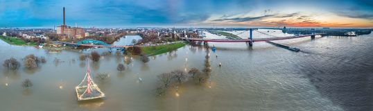 Aerial view of the skyline of the city of Duisburg during the Flooding of January 2018. Aerial view of the skyline of the city of Duisburg in Germany during the Royalty Free Stock Image