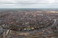 Aerial view skyline Dutch city of Goningen. Aerial view skyline city of Goningen, The Netherlands royalty free stock photos