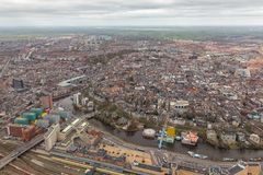 Aerial view skyline Dutch city of Goningen. Aerial view skyline city of Goningen, The Netherlands stock image
