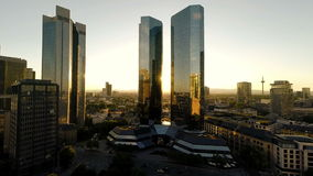 Aerial view of skyline cityscape background at sunset stock video footage