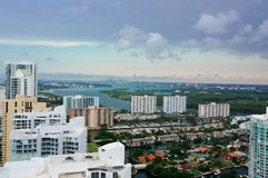 Aerial view of the skyline in miami Royalty Free Stock Photos