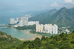 Aerial view of skyscapers in Lantau island Royalty Free Stock Photography