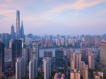 Aerial view of skyscraper and high-rise office buildings in Shanghai Downtown, China. Financial district and business centers in royalty free stock photos