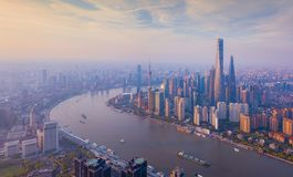 Aerial view of skyscraper and high-rise office buildings in Shanghai Downtown, China. Financial district and business centers in royalty free stock photography