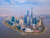 Aerial view of skyscraper and high-rise office buildings in Shanghai Downtown, China. Financial district and business centers in royalty free stock images