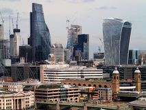 Aerial view on skyscrapers in the City of London. Aerial view on skyscrapers in the City, the business center of London, UK Stock Photos