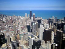 Aerial view of skyscrapers in city of Chicago, IL stock photography