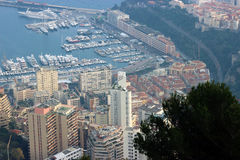 Aerial View of Skyscrapers and Port Hercule in Monaco Royalty Free Stock Photography