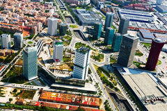 Aerial view of skyscrapers at Sants-Montjuic district. Barcelona stock photos