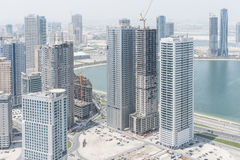 Aerial view of skyscrapers in Sharjah, UAE Royalty Free Stock Photos