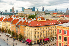 Aerial view of skyscrapers and Warsaw Old town. Stock Images