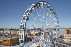 Aerial view of SkyWheel in Helsinki royalty free stock photography