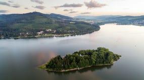 Aerial view of Slanica island, Slovakia. Aerial view of Slanica island on Orava dam at dusk, Slovakia royalty free stock photos