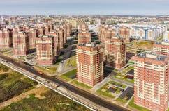 Aerial view on sleeping neighborhood. Tyumen Royalty Free Stock Photo