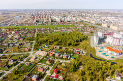 Aerial view on sleeping neighborhood. Tyumen Royalty Free Stock Images