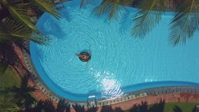 Aerial view girl in bikini swims on ring in pool. Aerial view slim girl in nice bikini swims on inflatable ring in pool surrounded by tropical palms stock video