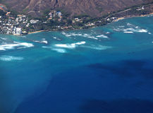 Aerial view of slopes of Diamond Head crater with road surrounde Royalty Free Stock Photography