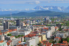 Aerial view of Slovenian capital Ljubljana Royalty Free Stock Photo
