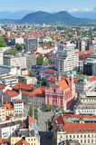 Aerial view of Slovenian capital Ljubljana Royalty Free Stock Image