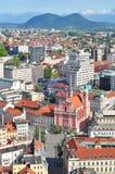Aerial view of Slovenian capital Ljubljana Royalty Free Stock Image