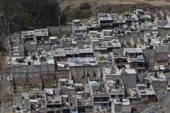 Aerial view of slum in mexico city. Extreme poverty in the outside of mexico city Stock Photo