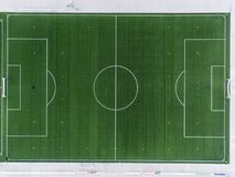 Aerial view of a smal sports soccer football field in a village near andernach koblenz neuwied in Germany. Aerial view of a smal sports soccer football field in royalty free stock photos