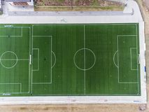 Aerial view of a smal sports soccer football field in a village near andernach koblenz neuwied in Germany. Aerial view of a smal sports soccer football field in stock photography