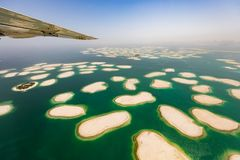 Aerial view of artificial World island in Dubai. Royalty Free Stock Images