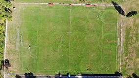 Aerial view of Small Amateur Football Pitch Training Ground. Summer Time stock footage