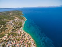Aerial view of small bay in the Adriatic. Royalty Free Stock Photos