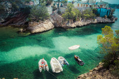Aerial view of small boats in sea bay. On mallorca Stock Photo