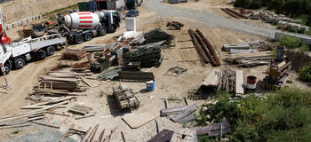 Small construction site, aerial view. Aerial view of a small construction site and equipment stock photography