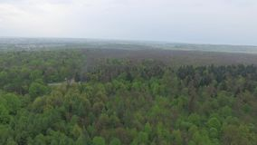 Aerial view of small country city and surrounding forest landscape stock video footage