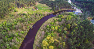 Aerial view of small forest river Stock Photography