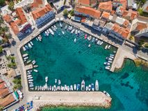 Aerial view of small harbour in the Adriatic Stock Images