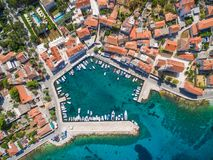 Aerial view of small harbour in the Adriatic Royalty Free Stock Photo