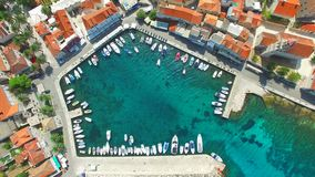 Aerial view of small harbour. stock video