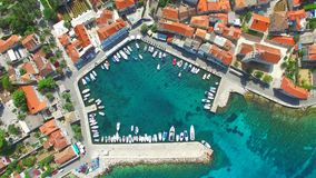 Aerial view of small harbour. stock footage